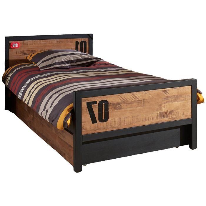 lit contemporaine 90 x 200 cm en bois de pin massif et mdf coloris brun et noir achat vente. Black Bedroom Furniture Sets. Home Design Ideas