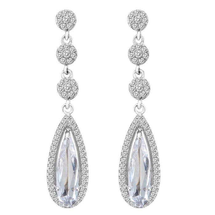 EVER FAITH®-Argent 925 Victorian Style Elégant Goutte dEau Zircon Pendant dOreille Blanc Ton dArgent Claire