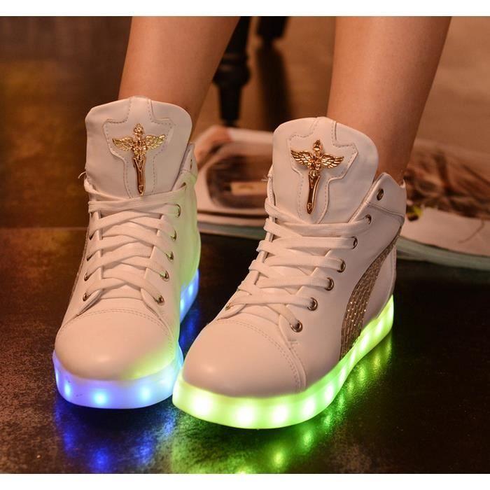 Recharge USB colorées émettant de la lumière LED baskets chaussures de sport pour les femmes