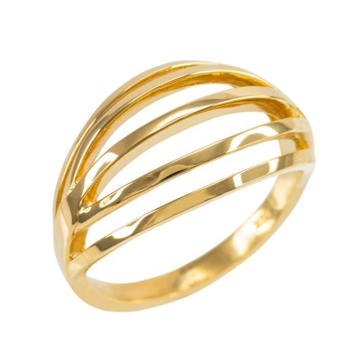 Bague Femme Solide 14 Ct Or Jaune Couches