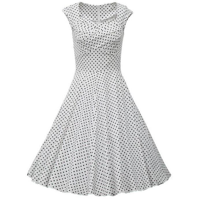 d24d64b63eaa FMQ Robe femmes à pois mode rétro style Hepburn - raddfab.com