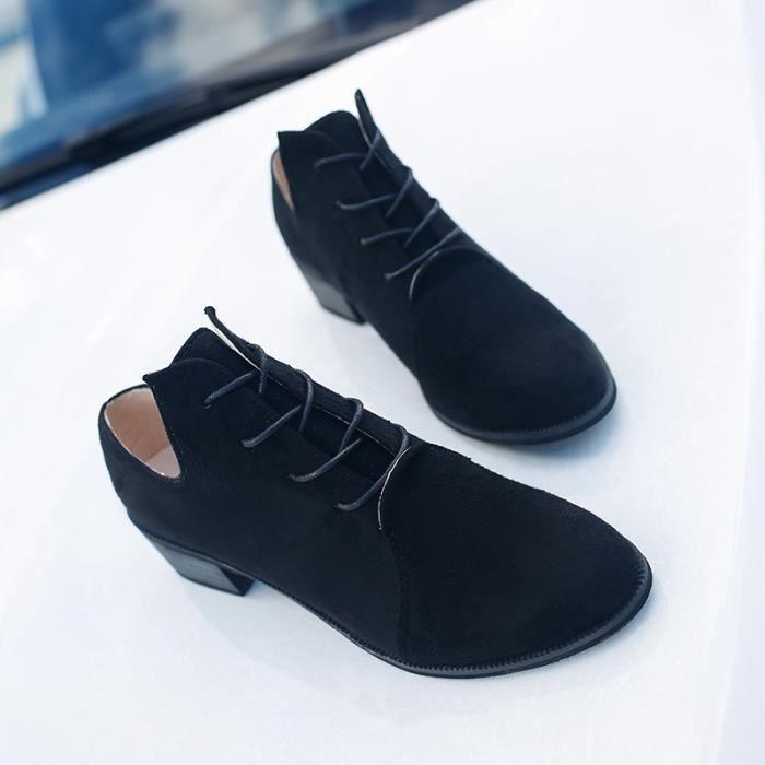 Femmes Casual Hiver - Printemps noir Bottes en suède en cuir