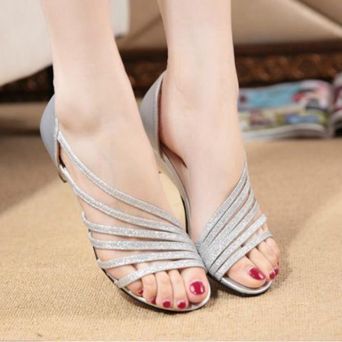 XZ743A5XZ743A5Les nouvelles femmes Fashion Glitter évider Pompes Peep Toe Chaussures Sandales