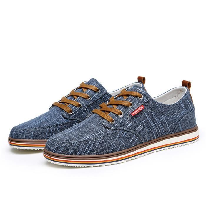Homme Chaussures Poids Léger Confortable Antidérapant Classique Moccasin Marque De Luxe été rétro Toile Grande Taille 38-48 aYTVVt