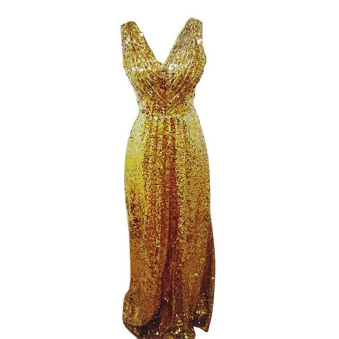 Robe de soirée Pour Femme Sexy Col V Paillette Blonde XL