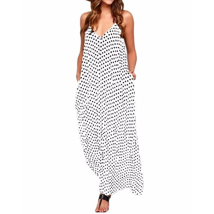 Zanzea les femmes col en V pois poche longue robe maxi boho décontracté cocktail vêtements de plage 2HC33D Taille-50