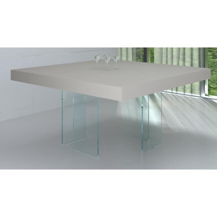 table de salle manger carr e crystalline avec pied en verre achat vente table manger. Black Bedroom Furniture Sets. Home Design Ideas