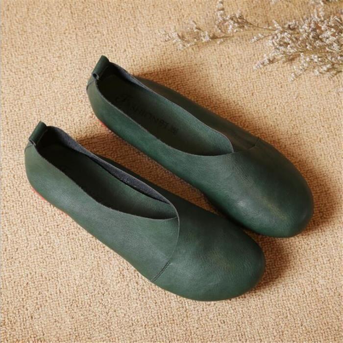 Mocassin Mocassins Femme Printemps Été Nouvelle Mode Qualité Supérieure Cuir Plat Chaussures Chaussures Rondes Classiques En
