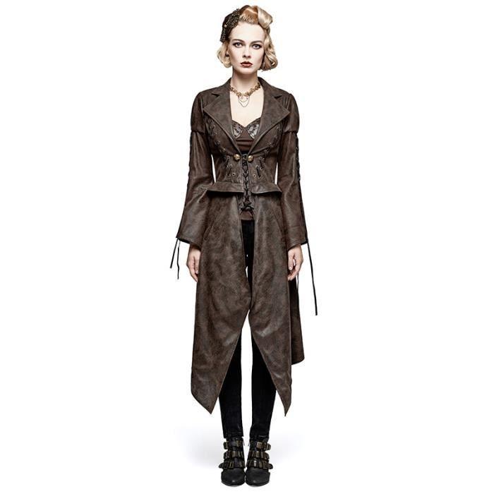 Manteau Femme Punk Ou Rave Long Steampunk Marron Imitation Courte Cuir Veste 2en1 0UwnpqET