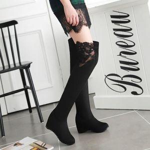 Sexy Lace Femmes Long Bottes hiver Place talon haut Cuissardes Bottes Scrub femme Bottes Taille 34-43,marron foncé,38