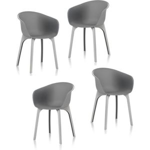 FAUTEUIL JARDIN  IDEA Lot de 4 chaises de jardin - Diva - Grise