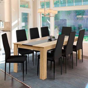 TABLE À MANGER SEULE Table à manger GEORGIA 8 personnes hêtre et noire