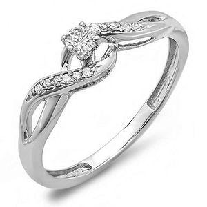 BAGUE - ANNEAU Bague Femme Diamants 0.20 ct  18 ct 750-1000 Or Bl