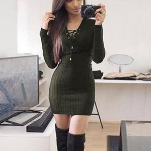 ba5d222bc7e4f ... Col V Manches Longues. ROBE ZANZEA Mini Robe Pull Femme Sexy Tricoter  Chaud Ba