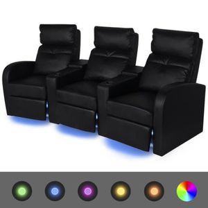 FAUTEUIL Sofa Fauteuil inclinable à LED Canapé 3 places Cui