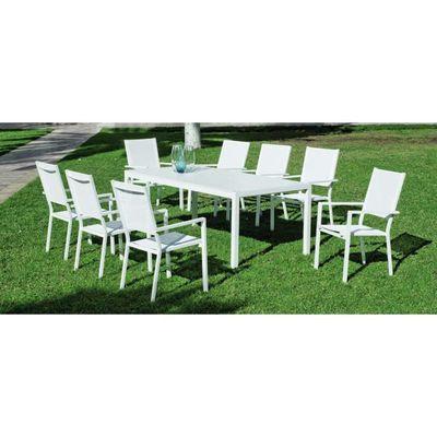 Salon de jardin 8 personnes Ibiza Blanc - Achat / Vente salon de ...