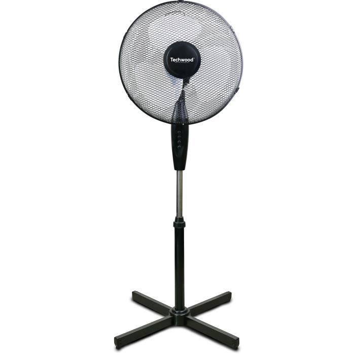 TECHWOOD Ventilateur sur pied - 40 cm - 3 vitesses de ventilation - Réglage : hauteur, oscillation et orientation - Puissance 40 W