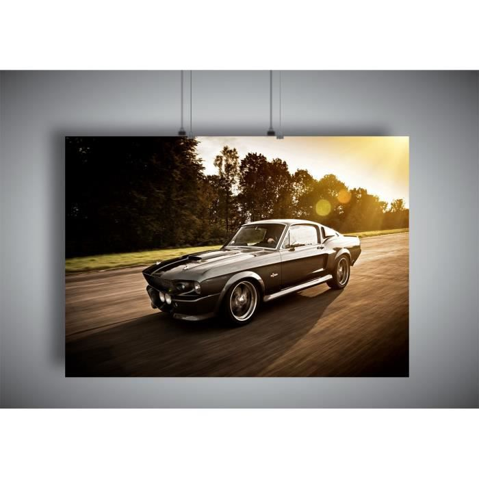 0f632e71132 Poster Ford Mustang Shelby GT 500 Eleanor 1967 Sunset wall Art - A3  (42x29