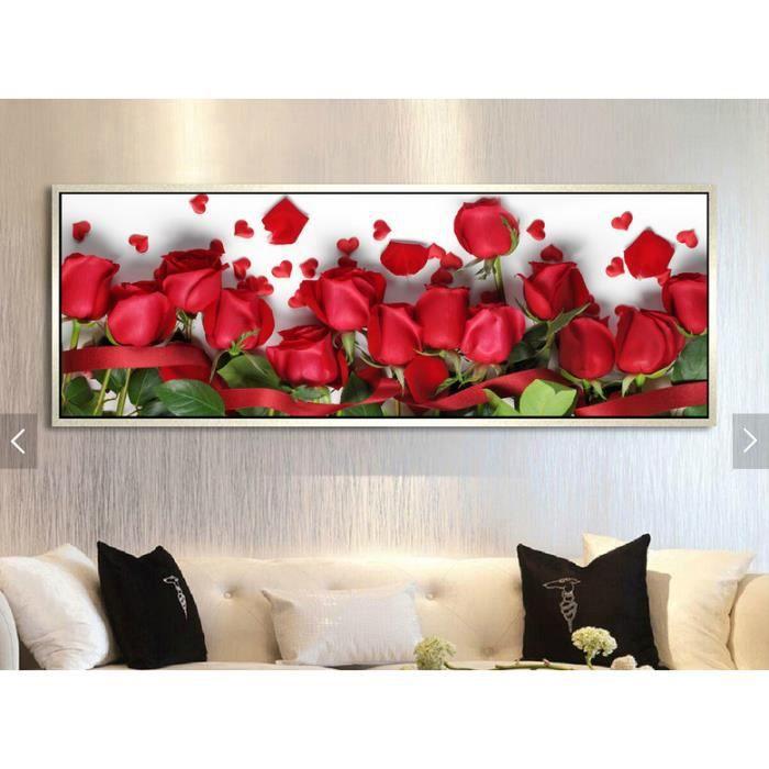 TABLEAU - TOILE No frame Belle art mur de toile de fleurs rouges c