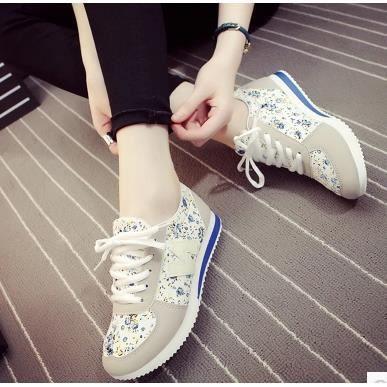 2015 été Floral de loisirs chaussures de sport maille respirante chaussures plates creuses, bleu 40