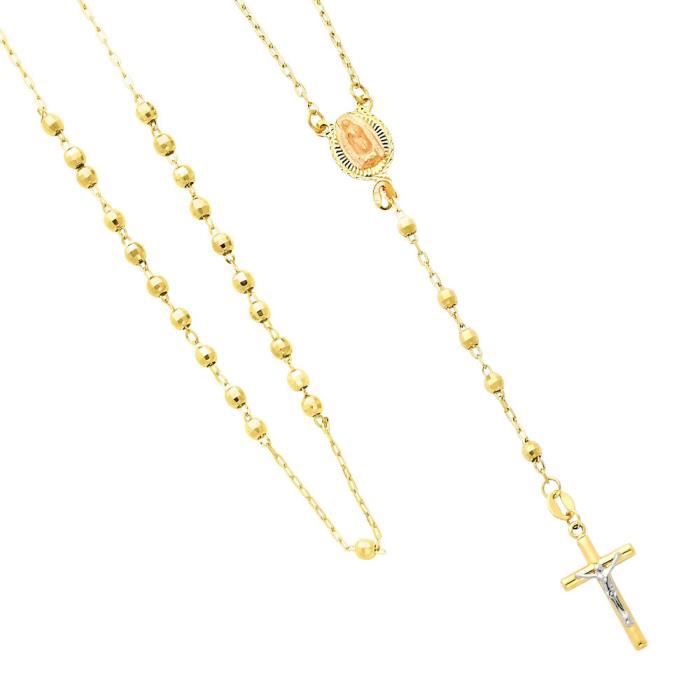 Pendentif 14 ct 585/1000 Tricolor Or Rosary Le Immaculata