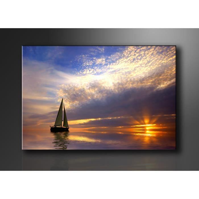tableau imprim 120x80 cm bateau en mer achat vente tableau toile toile bois cdiscount. Black Bedroom Furniture Sets. Home Design Ideas