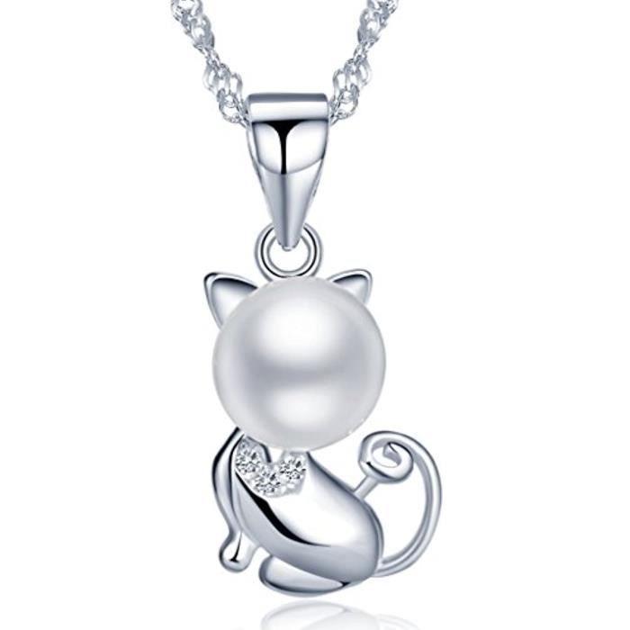 925 Argent 8Mm Perles DEau Douce Mignon Chat Pendentif Femme Collier