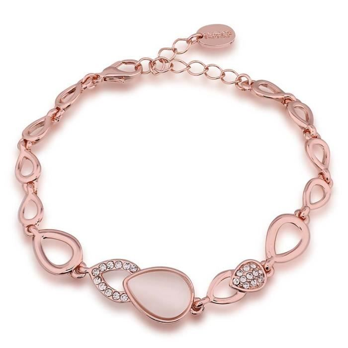 Bracelet charms et perle Doré or rose 750/00 18K carats Bijou fantaisie haut de gamme Opale Femme Rose Aves