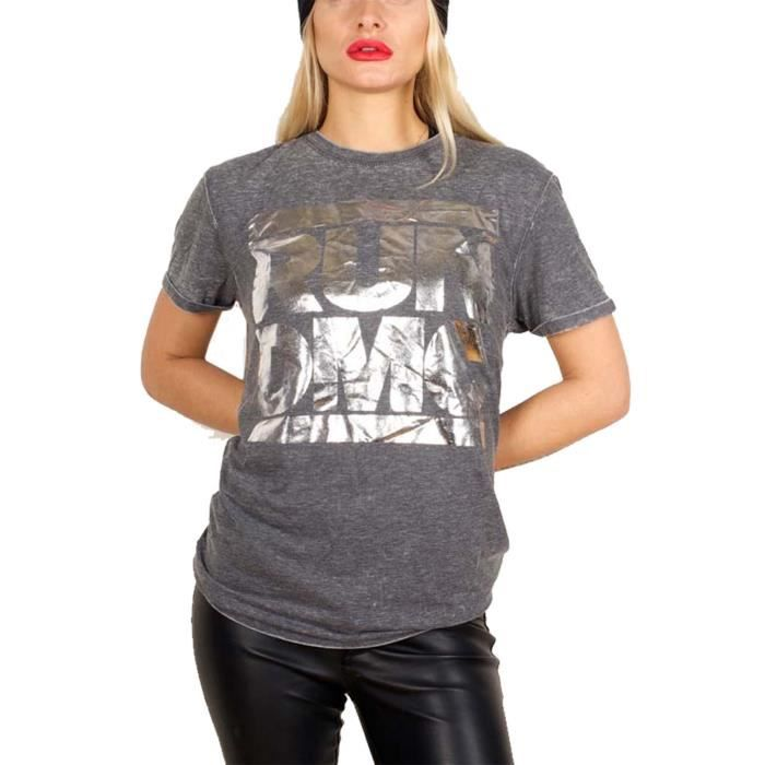 66ea7b993bae5 Run DMC Argenté foil Logo nouveau officiel Unisex Gris Burn out ...