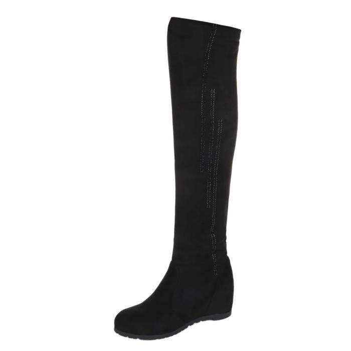 femme bottes overknees chaussure botte semelle compensée Wedges noir