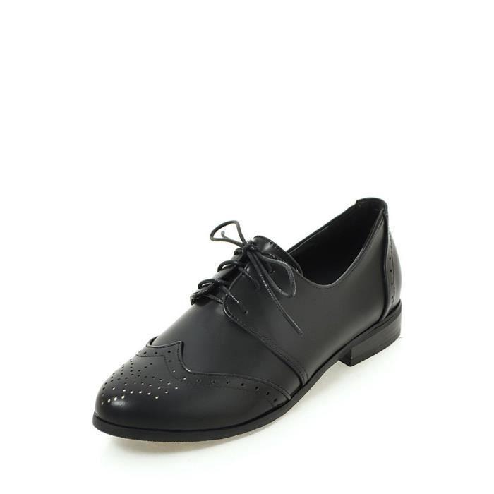 Mocassins Femmes Pompes lacent couleur unie Casual Carve déplié point Toe Shoes 9696456