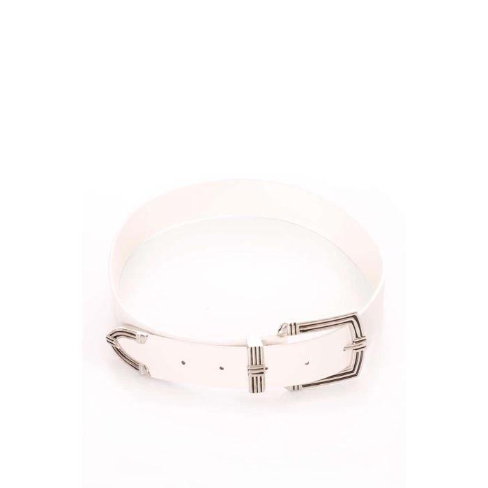 Miss Wear Line - Ceinture blanche à boucle argentée texturée Blanc ... 4ab79615656