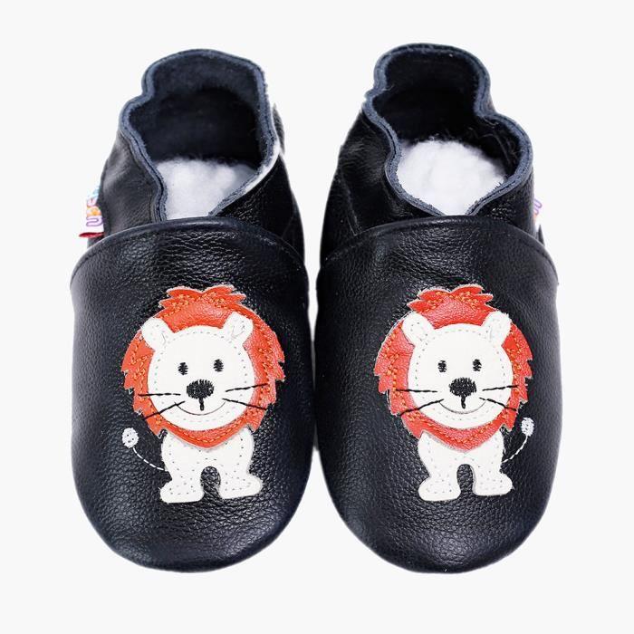 485b20c3afe46 Chaussures Bébé en Cuir Souple - Chaussons Bébé kid- Chaussures Premiers  Pas Mignon petit lion 0-6 ans