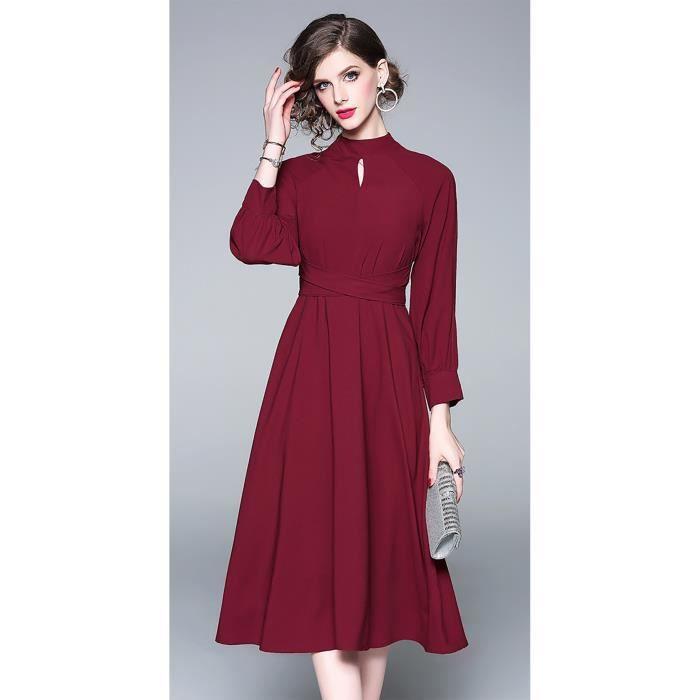 5e2d6d05f939 robe élégante femme manches longues rouge nouveau printemps 2019 ...
