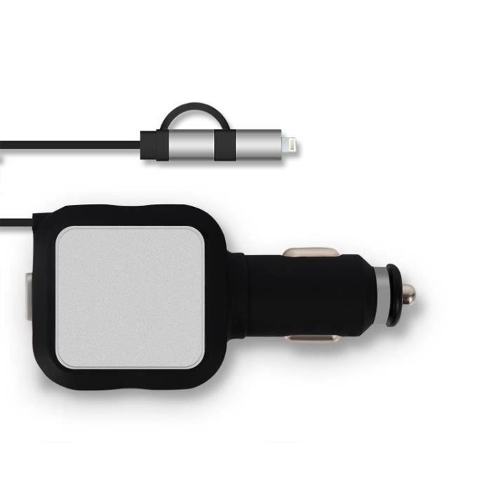 Deux ports USB ligne télescopique chargeur de voiture intelligente universelle 4.8A Protection contre les surtensions