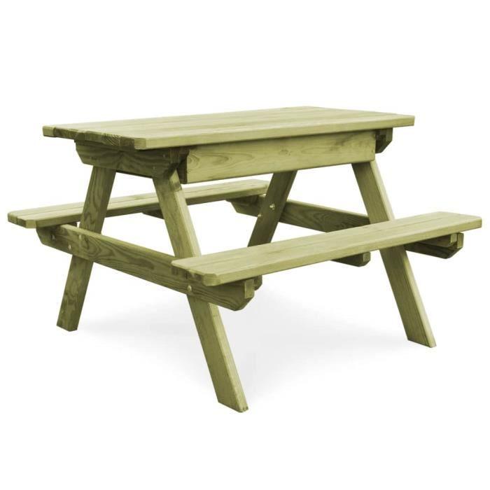 Table de pique-nique avec bancs Bois de pin imprégné FSC - 45148 ...