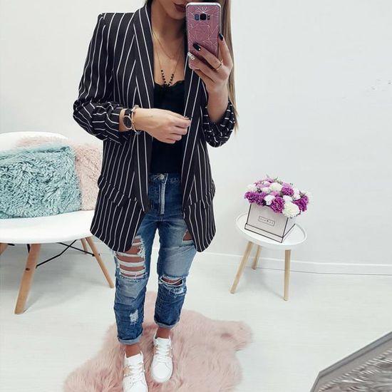 Femmes Longues noir De Blazer Manches Pour Plumeau Rayé Les Veste Manteau Élégant qCgEdwqx