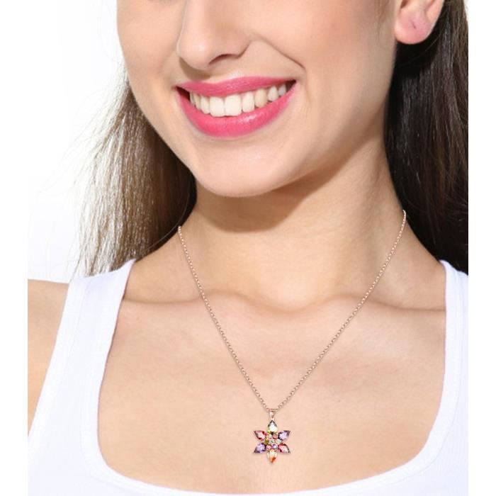 Womens Sparkling Colors Flowerets Vine Aaa Swiss Cubic Zirconia 18k Rose Gold Plated Pendant Neckl CSCZ5