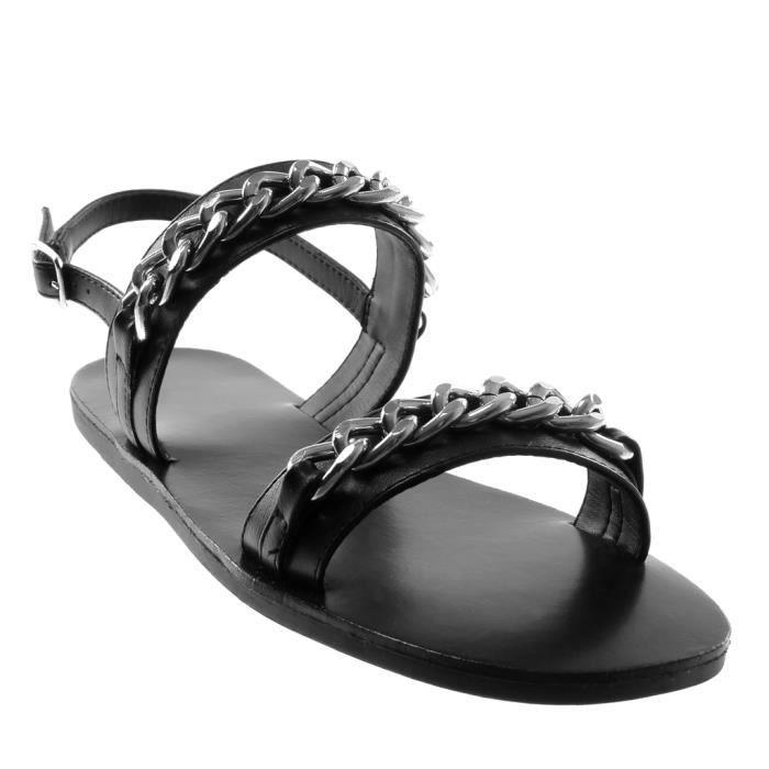Angkorly - Chaussure Mode Sandale lanière cheville ouverte femme chaïnes multi-bride Talon plat 1 CM - Noir - YS469 T 35