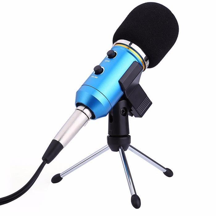 Tempsa Professionnel Son Microphone Filaire Enregistrement Audio Usb Condensateur Karaoké Système Bleu 15.5x4.9cm