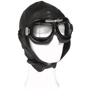 CASQUE MOTO SCOOTER casque moto cuir souple noir style aviateur milita