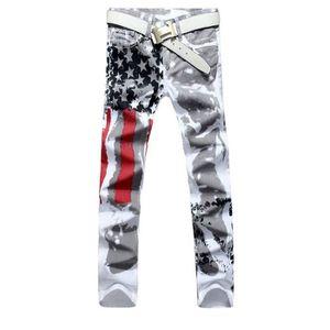 JEANS MalKris ® Blanc Imprimé Mode Hommes Jeans Slim str