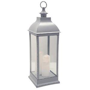 LAMPE - LANTERNE Lanterne LED en verre coloris gris antique - Dim :