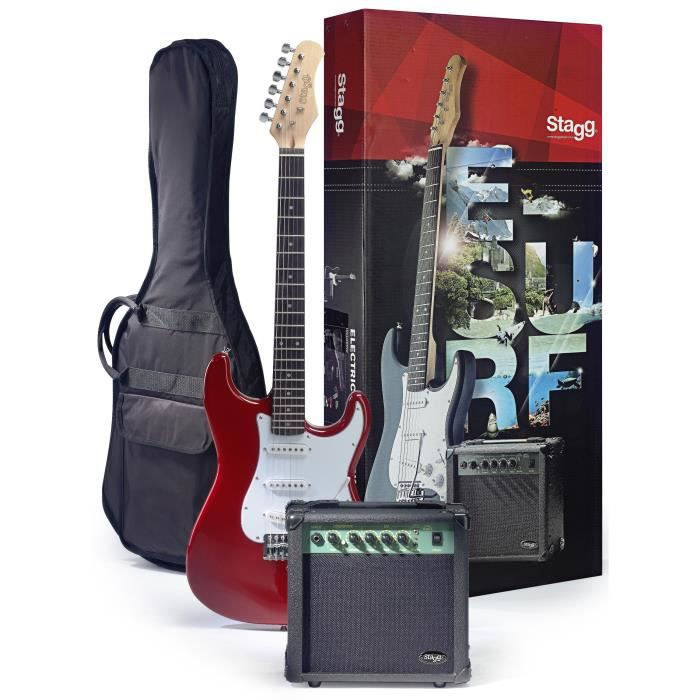 STAGG ESURF 250 TR EU Pack Guitare Electrique - Rouge