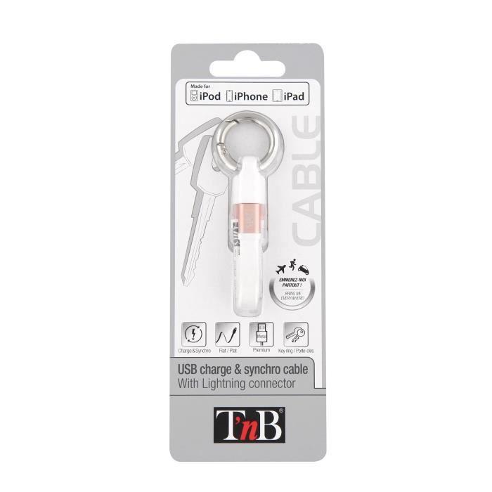 TNB Câble USB de charge Lightning - Blanc Rose