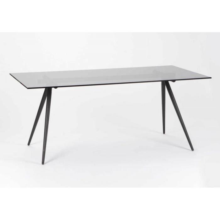 Table à manger contemporaine pied compas noir et plateau verre noir ...
