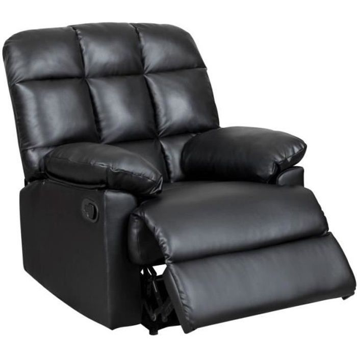 fauteuil relax noir jimmy achat vente fauteuil noir soldes d s le 10 janvier cdiscount. Black Bedroom Furniture Sets. Home Design Ideas
