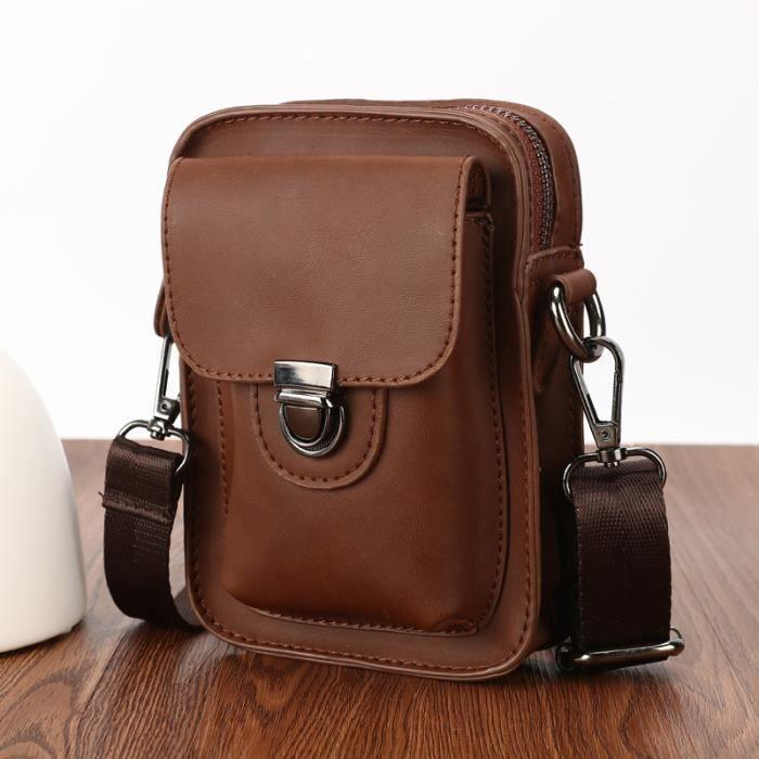 sac à main Retro Crazy Horse PU Sac en cuir pour hommes Sac de taille Fanny boucles de ceinture Hip Bum bourse Téléphone-771