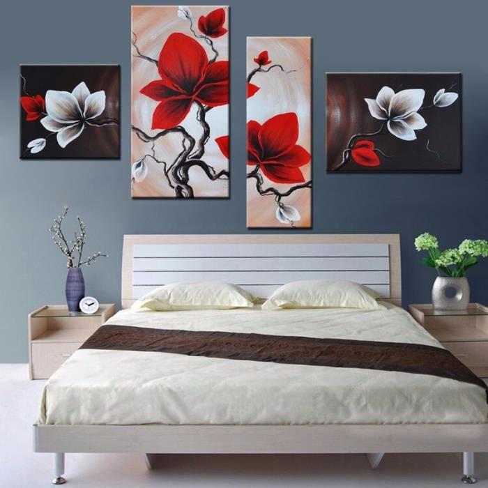 Top Quatre combat sans cadre toile orchidée rouge et blanc calme  AP14