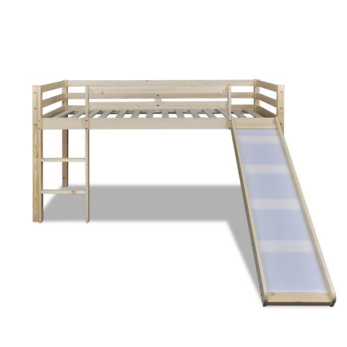 lit mezzanine bois massif achat vente lit mezzanine bois massif pas cher cdiscount. Black Bedroom Furniture Sets. Home Design Ideas